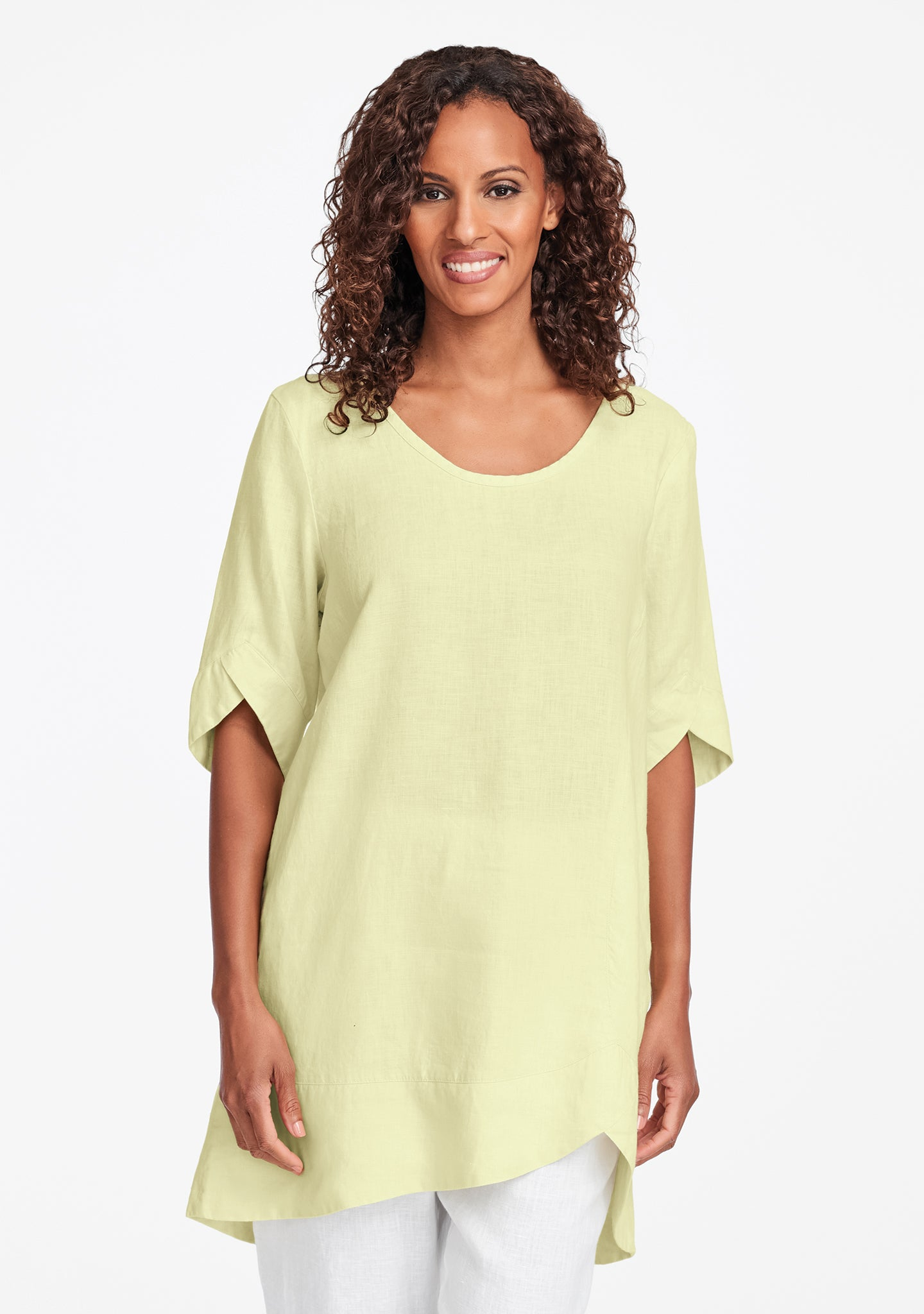 scallop tunic linen shirt yellow
