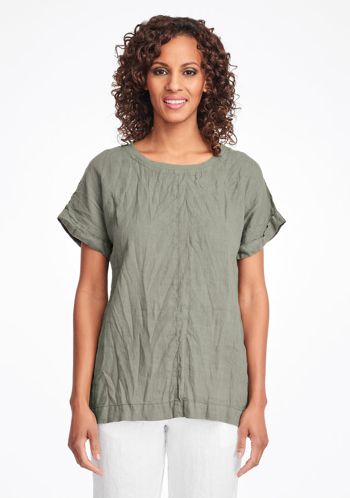 tee top linen t shirt green