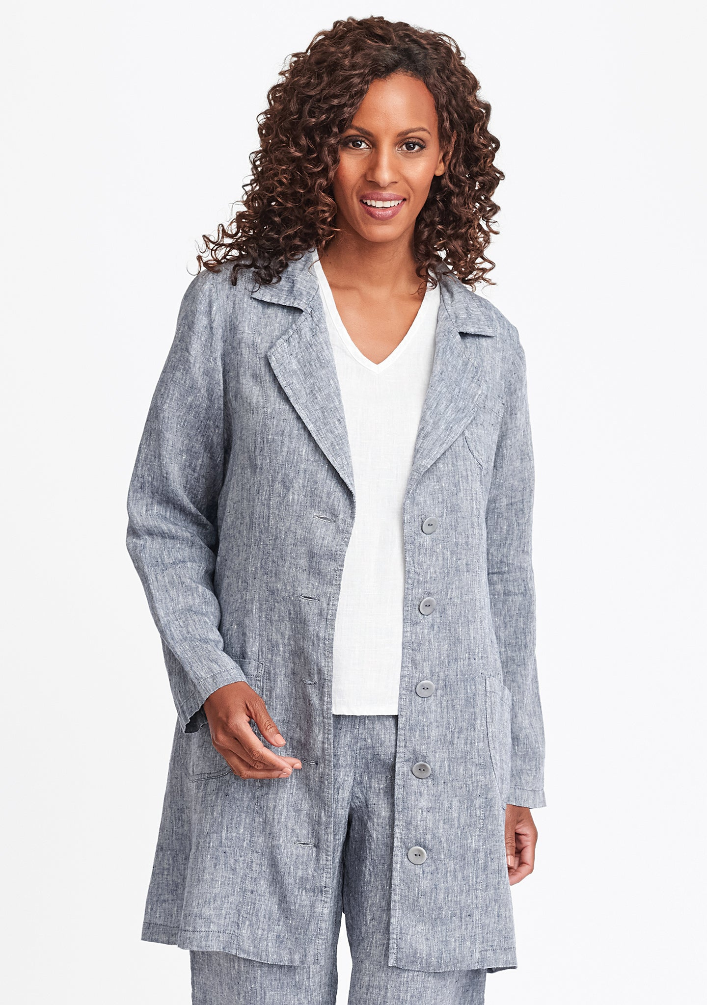 the traveler linen jacket blue