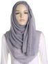 Dove Grey Plain Crinkle Maxi Hijab