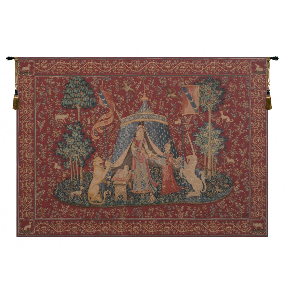 Red Unicorn Woven Tapestry of Desire Wall Hanging