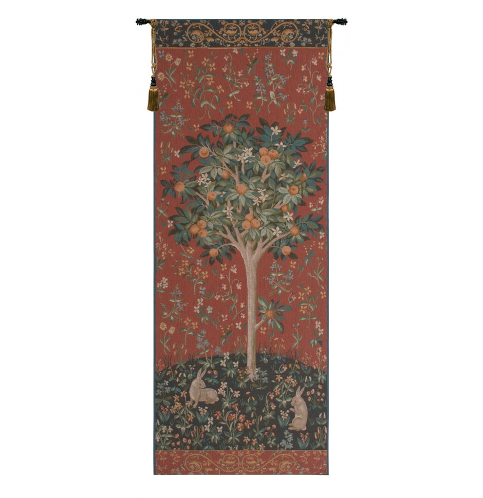 Red Oranger Medieval Tree French Decor Wall Tapestry