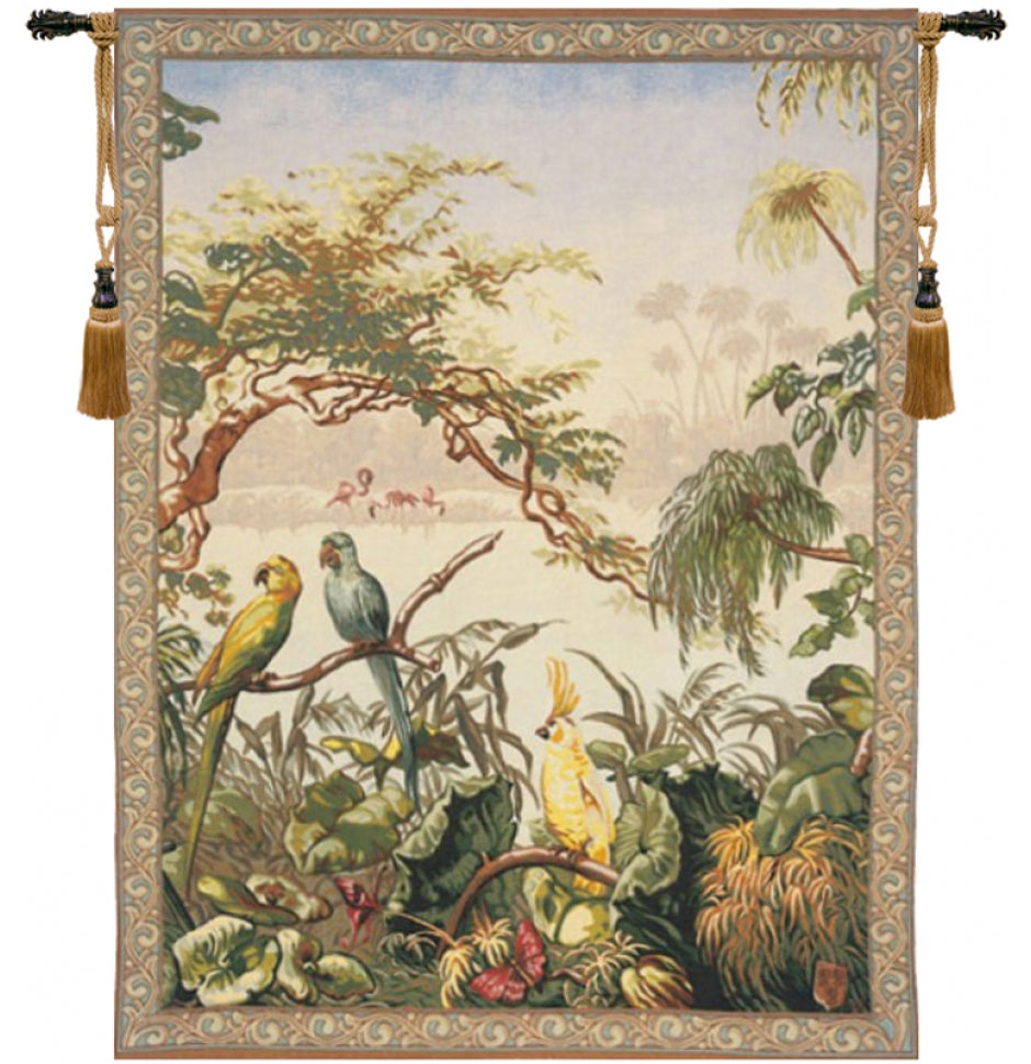 Large Green Gobelins Tapestry Wall Hanging