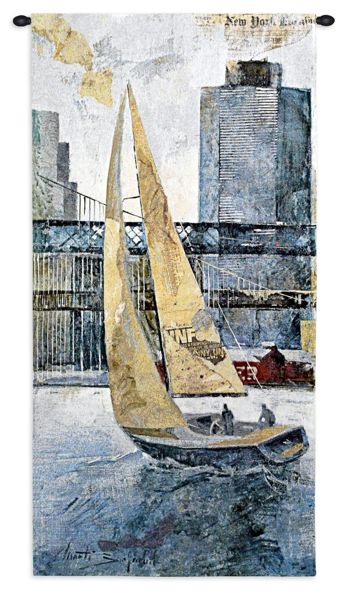 Tall Nautical Ship Wall Hanging Textile Tapestry