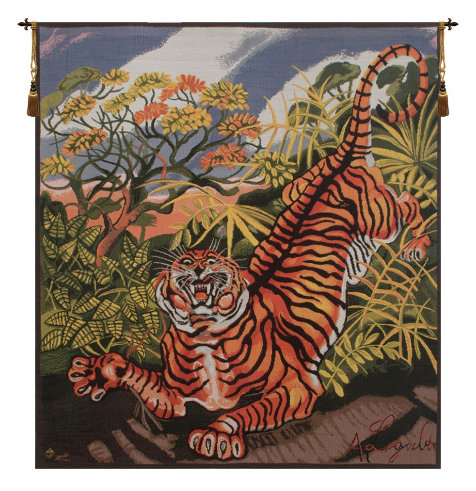 Green Ligabue Tiger Italian Wall Hanging Tapestry