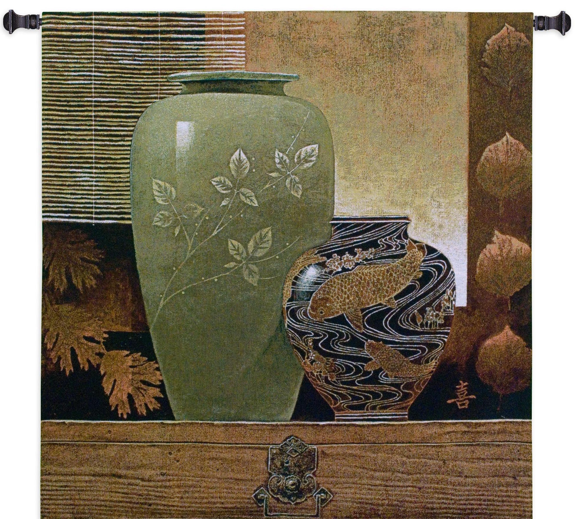 Neutral Green Vase Pottery Wall Hanging