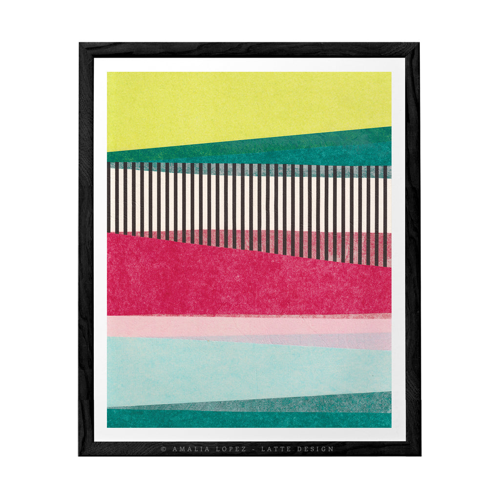 Abstract Landscape 2C. Green and pink abstract print