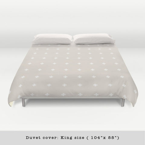 Swiss cross cream and white duvet cover - Latte Design  - 1