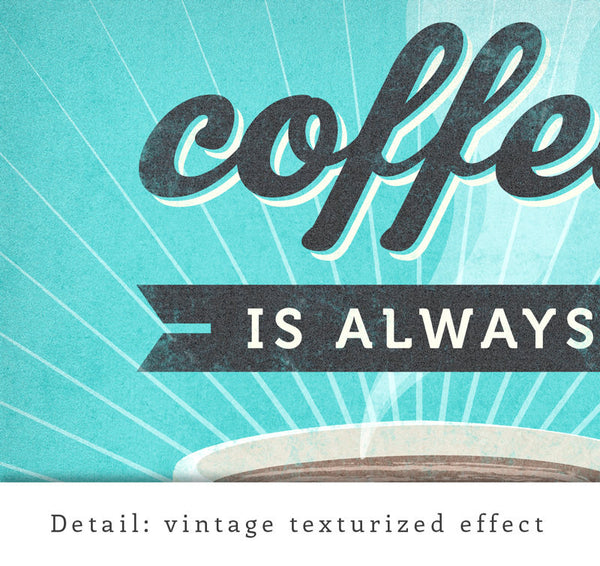 Coffee is always a good idea. Turquoise Coffee print - Latte Design  - 5