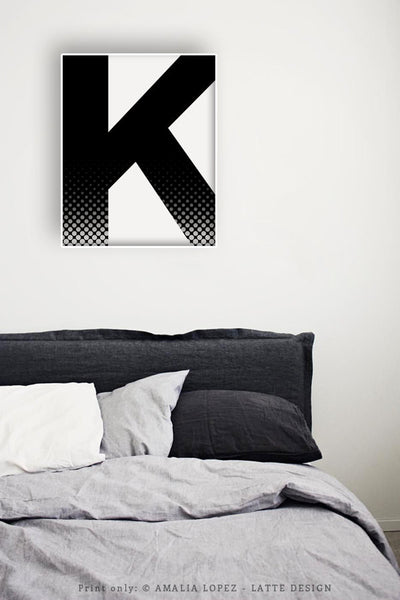 Letter K print. Black and white print - Latte Design  - 3