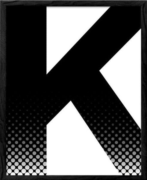 Letter K print. Black and white print - Latte Design  - 1