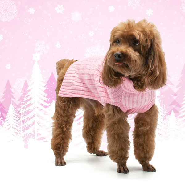 PP BASIC TURTLENECK PINK DOG SWEATER