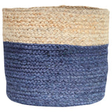 NAVY / NATURAL JUTE BASKET - LARGE