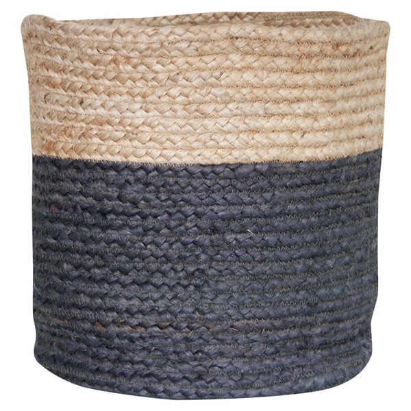 CHARCOAL / NATURAL JUTE BASKET - LARGE