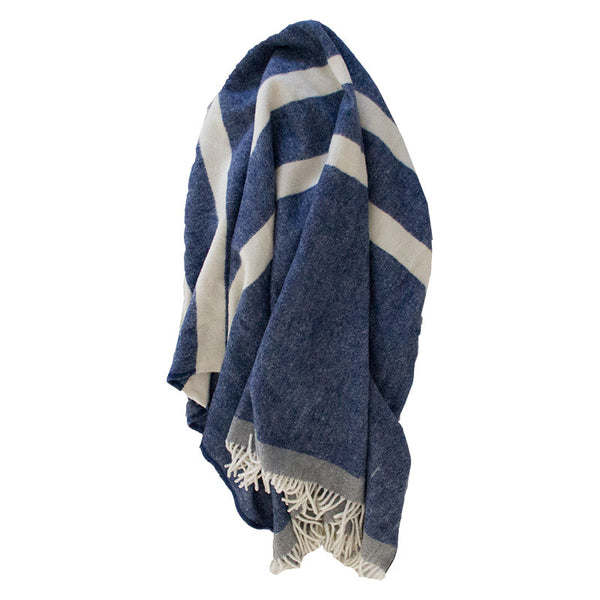 HUDSON 100% WOOL THROW BLANKET NAVY