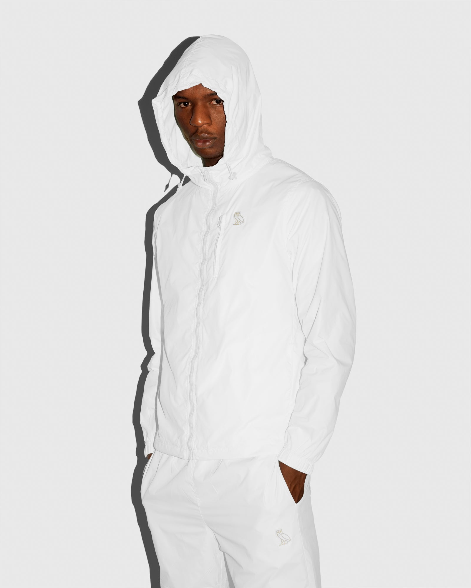 OVO NYLON PACKABLE JACKET - WHITE IMAGE #2