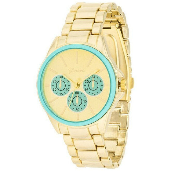 Beth 14k Gold Mint Chrono Metal Watch