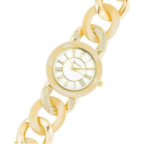 Trista 14k Gold White Bone Link Metal Watch