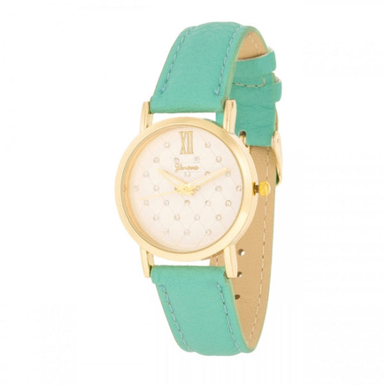 Genna 14k Gold Leather Mint Watch