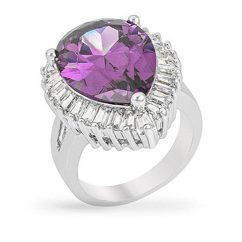 Janelle 14.4ct Amethyst CZ White Gold Rhodium Cocktail Ring