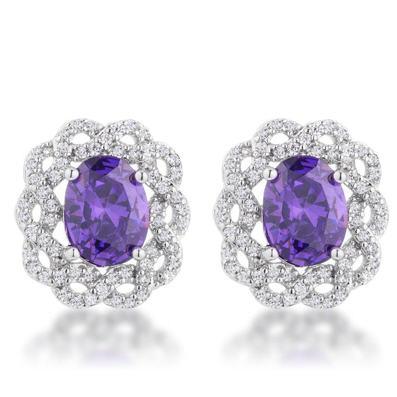 Amethyst Oval Stud Earrings