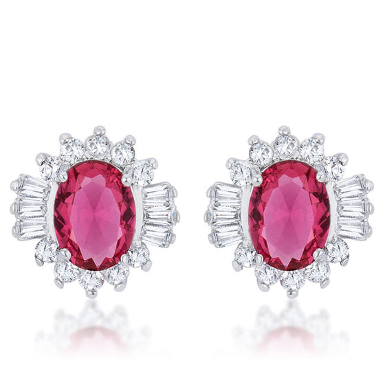 Chrisalee 3.3ct Ruby CZ White Gold Rhodium Classic Stud Earrings