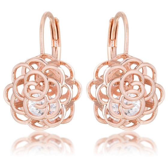 Maya 1.5ct CZ Rose Gold Rose Drop Earrings