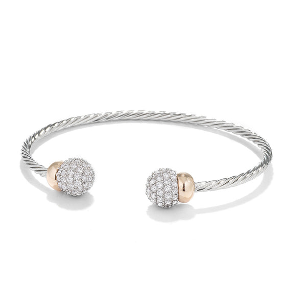 Two Tone Cubic Zirconia Pave Ball Wired Cuff