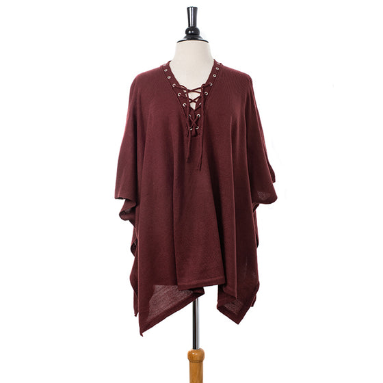 Plush Burgundy Lace-up Knitted Pullover Poncho