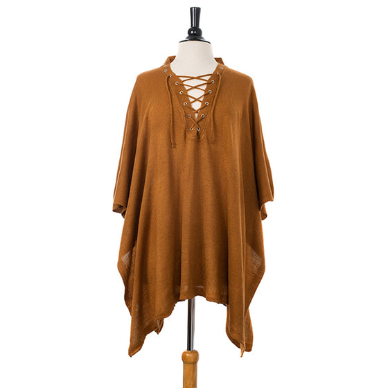 Plush Camel Lace-up Knitted Pullover Poncho