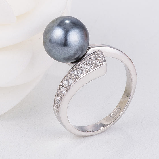 Sterling Silver Grey Pearl Ring