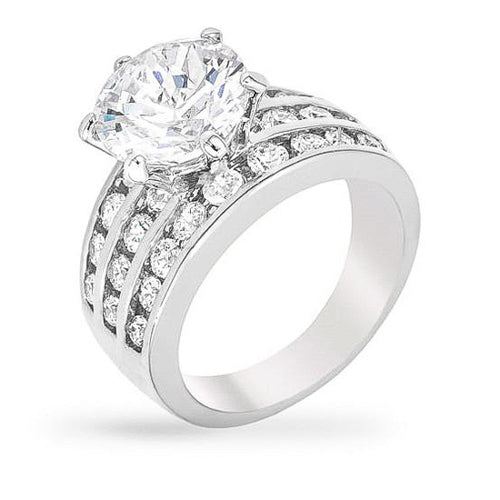 Mable 7.5ct CZ White Gold Rhodium Ring