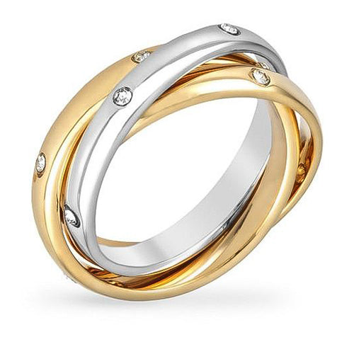 Louisa 1.1ct CZ Two-Tone Linked Eternity Ring Set