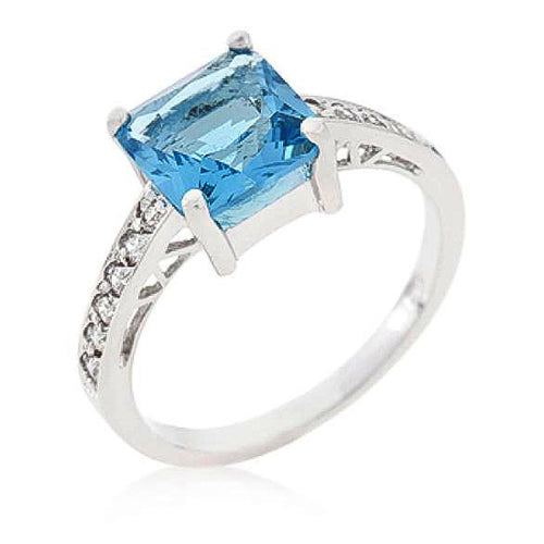 Penelope 2.1ct Aqua CZ Sterling Silver Ring