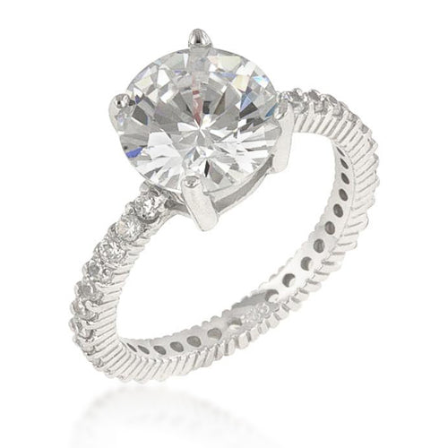 Anne 4.1ct Clear CZ Sterling Silver Classic Ring