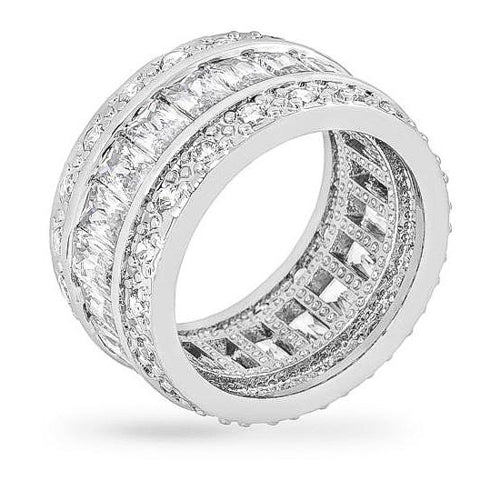 Avril 8.8ct CZ White Gold Rhodium Eternity Band