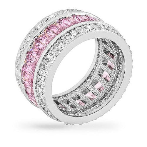 Avril 8.8ct Pink CZ White Gold Rhodium Eternity Band