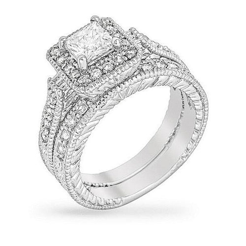 Marilyn 3.9ct CZ White Gold Rhodium Ring Set