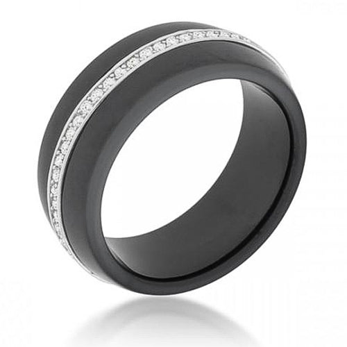 Cara 0.5ct CZ Sterling Silver Black Ceramic Band