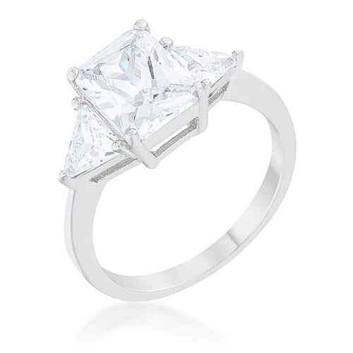 Cara Classic 4.5ct Clear CZ Sterling Silver Engagement Ring
