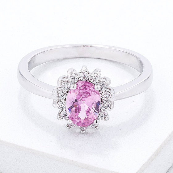 Pink Ice CZ Petite Oval Ring