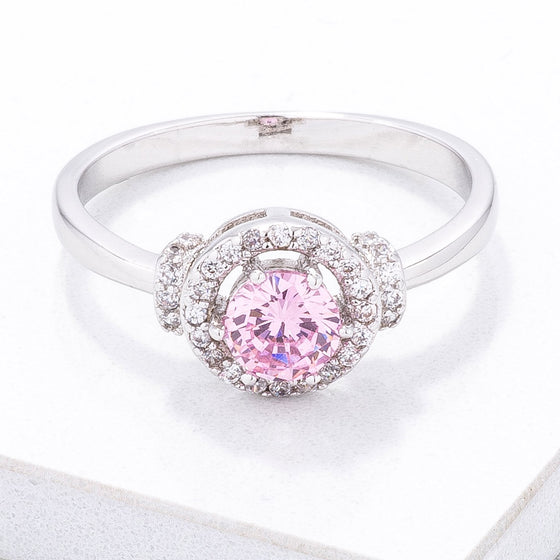 Mini Pink CZ 4mm Halo Ring