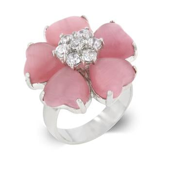 Pink Heart Clover Ring