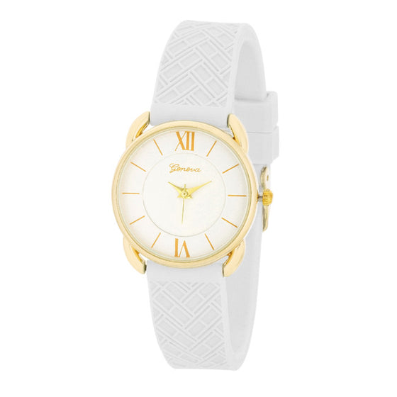Mina Gold Classic Watch With White Rubber Strap