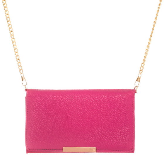 Katie Hot Pink Faux Leather Clutch With Gold Chain Strap