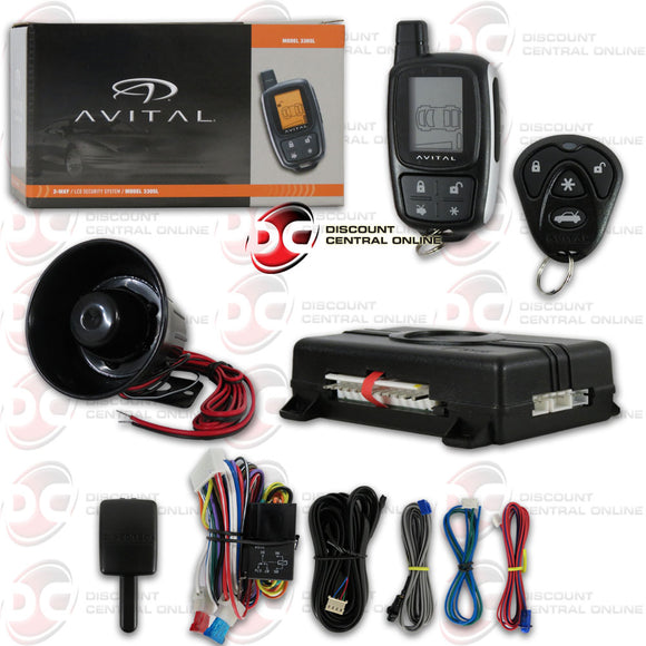 AVITAL 3305L 2-WAY KEYLESS ENTRY CAR ALARM SYSTEM WITH 4 BUTTON REMOTE
