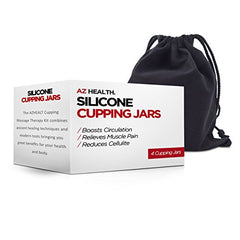 AZHEALTH Professional Cupping Therapy Sets, Includes 4 Anti-Slip Silicone Massage Cups and Storage Bag