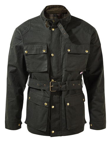 DARK GREEN CLASSIC WAX COTTON MOTORCYCLE JACKET