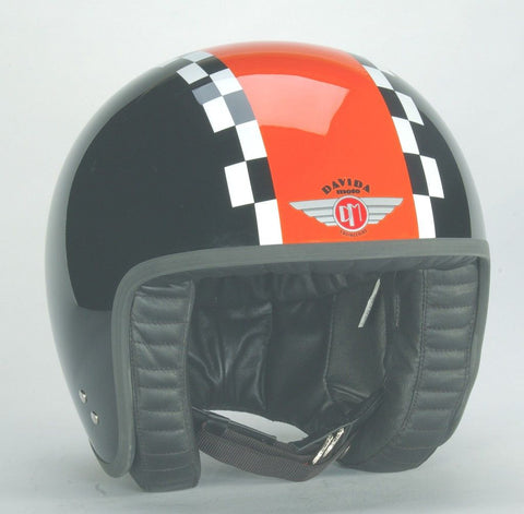 DAVIDA JET BLACK ORANGE/WHITE CHECK - Speedwear Ltd