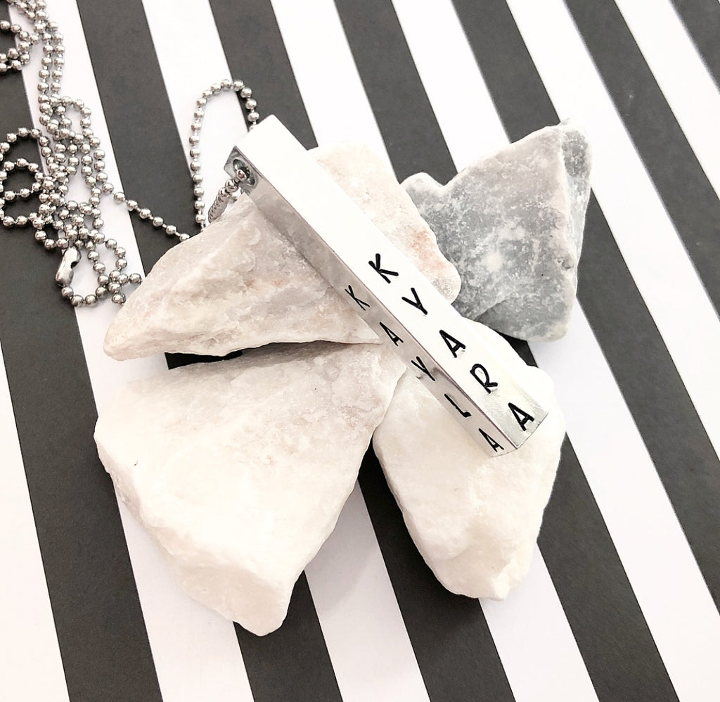 FOUR SIDED BAR NECKLACE